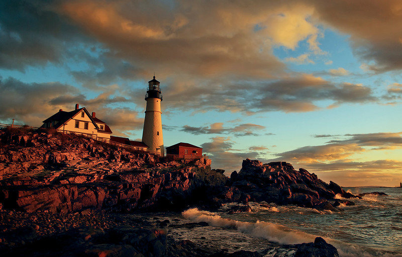Dawn on Portland Head Light, Cape Elizabeth, Maine