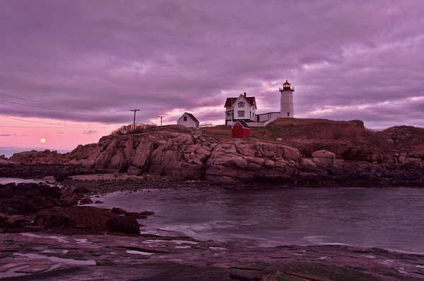 Full Moon Rising at Nubble Light, York, Maine