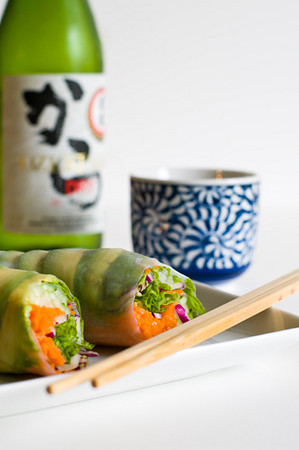 Avocado Vegetable Rolls with Sake.